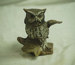 Vintage Bisque Horned Owl on Log Bird Figurine Curio Cabinet Shelf Decr d - $19.79