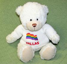 """10"""" Fiesta DALLAS RAINBOW TEDDY BEAR Plush Stuffed White Animal Sitting ... - $14.85"""