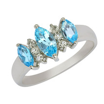 1.05 Ct Blue Topaz Marquise Cut 925 Sterling Silver Solitaire Three Ston... - $22.40