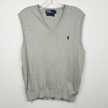 Polo Ralph Lauren Mens Sweater Vest Sz L Large Gray Solid Pullover Pima ... - $21.96