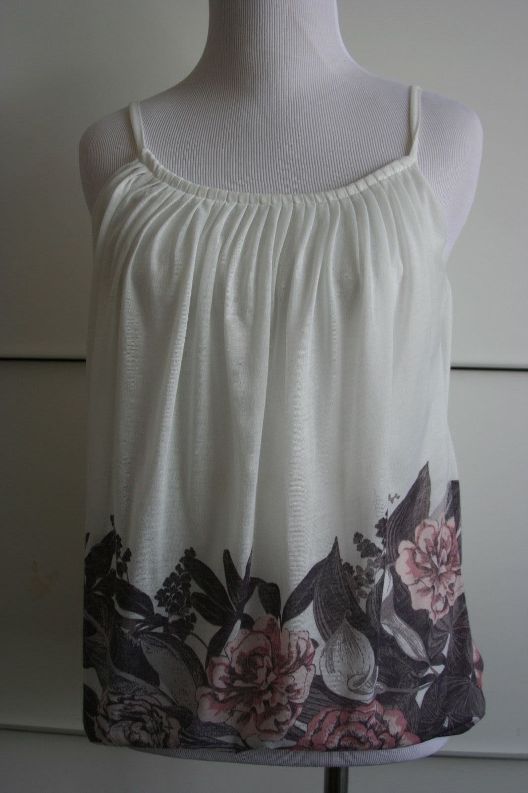 Primary image for H&M White Flowing Top Gray pink floral, Pleated collar EUC Spaghetti Straps XS