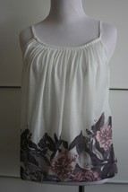 H&M White Flowing Top Gray pink floral, Pleated collar EUC Spaghetti Str... - $9.89