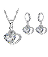 Silver and Cubic Zirconia Dangle Drop Inter Heart Earrings and Necklace ... - $23.73