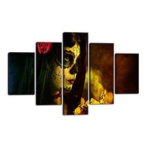 Day of the Dead Canvas Halloween Painting Sugar Skull Girl Face Wall Art... - $109.13