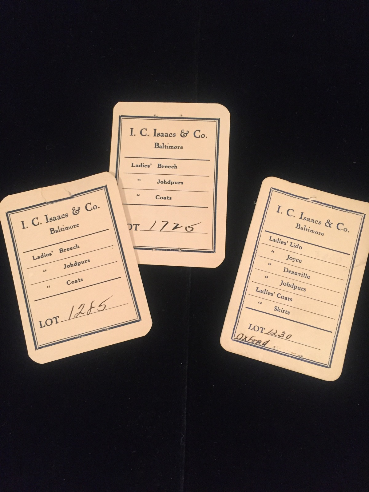 Vintage I.C. Isaacs & Co. (Baltimore) ladies clothing tags - set of 3