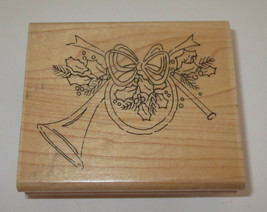 French Horn Rubber Stamp Close To My Heart Christmas Holly Leaves Berrie... - $5.93