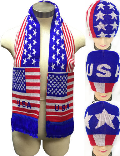 Case of [12] USA Design Knitted Beanie Hat/Scarf Set
