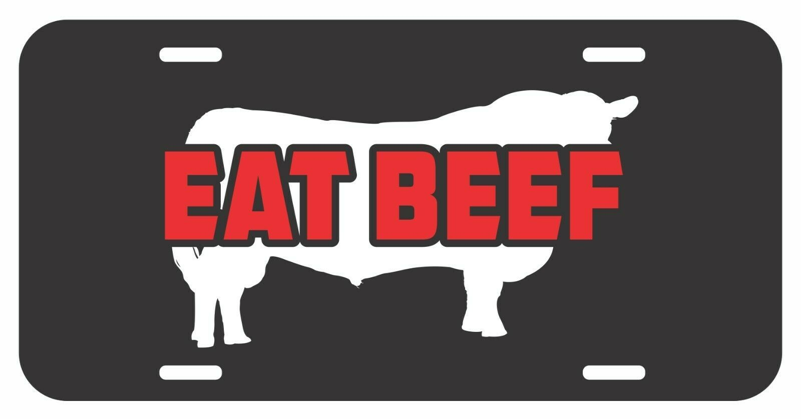 Primary image for BEEF RED EAT Aluminum Metal On Black License Plate Tag Farmer Cattle Truck Car