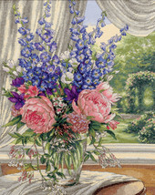 """Dimensions/Gold Collection Counted Cross Stitch Kit 12""""X15""""-Peonies/Delphiniums  - $44.61"""