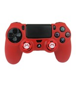 Silicone Grip Red Shell Cover + 2 Multi Thumb Grips For PS4 Controller  - $8.90