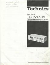 TECHNICS RS-M205 Cassette Tape Deck - Operating Instructions. - Original - $9.50
