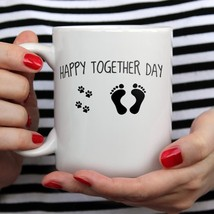 Dog Paw Happy Together Day Dog Lovers Mug White Ceramic 11oz Coffee Tea Cup - £10.76 GBP+