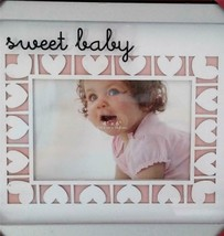 Sweet Baby Girl Picture Frame Photograph Hearts Pink White NEW - $22.23