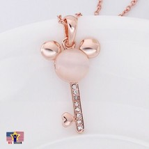Rose Gold Tone Mouse Ear Heart Key Jewelry Rhinestone Crystal Necklace Pendants - $6.93