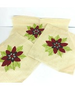 Unfinished Burlap Embroidered Christmas Poinsettia Pillow Cover Set of 3 - $35.63