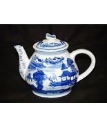 Vintage Style Art Ceramic Asian Scene Cobalt Blue & White Tea Pot Butterfly Lid - $29.69
