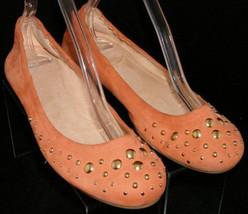 "Stuart Weitzman 'Dotsalot"" orange suede gold studded ballet flats 9M 4940 - $37.08"