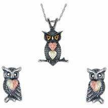 Sterling Silver Oxidized Owls Earrings & Pendant Set - $117.81
