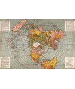 1943 Flat Earth World War II Map Polar Azimuthal Equidistant Projection ... - $12.87+