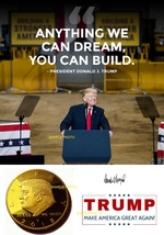 PRESIDENT DONALD TRUMP AUTOGRAPHED RP #MAGA DREAM QUOTE/COIN PHOTO 8X10 - $5.99