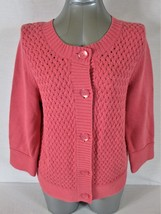 Croft & Barrow Womens Large 3/4 Sleeve Pink Button Down Cardigan Sweater (Z)P - $14.34