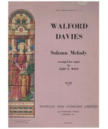 Sheet Music - Walford Davies ~ Solemn Melody ~ 1910 ~ Organ - $12.82