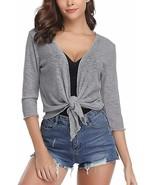 Abollria Womens 3/4 Sleeve Sheer Shrug Tie Front Cropped Bolero Cardigan - $39.65+