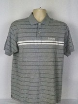 Chaps Ralph Lauren Mens Medium M Gray Polo Shirt Stripe Vintage Embroide... - $15.83