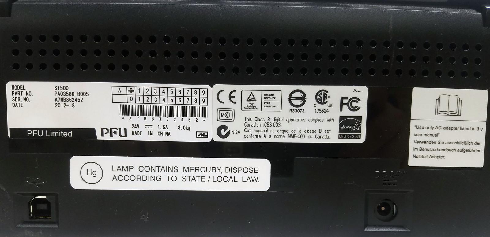 Fujitsu ScanSnap S1500 Scanner Bin:2