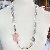 Necklace Silver 925, Jade Brown, Length 80 cm, Chain Worked to Flowers image 2