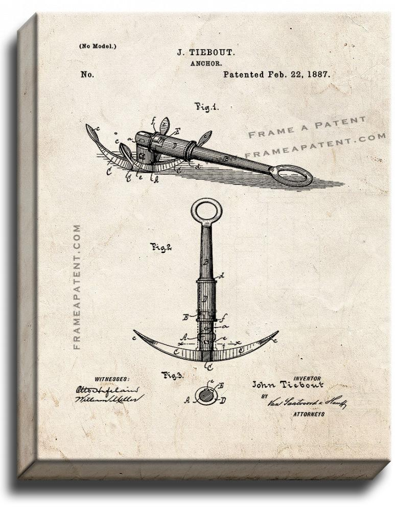 Primary image for Anchor Patent Print Old Look on Canvas