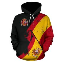 Unisex Spain Special Grunge Flag Pullover 3D Hoodie All Over Print - $49.99