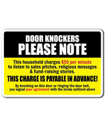 DOOR KNOCKERS PLEASE NOTE Novelty Sign warning funny solicitation home gift - $9.89