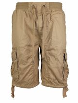 LR Scoop Men's Elastic Waist Drawstring Multi Pocket Cotton Cargo Shorts CJS-80 image 11