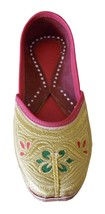 Women Shoes Indian Mojari Bridal Gold Handmade Leather Ballerinas Jutties US 9  - £24.26 GBP