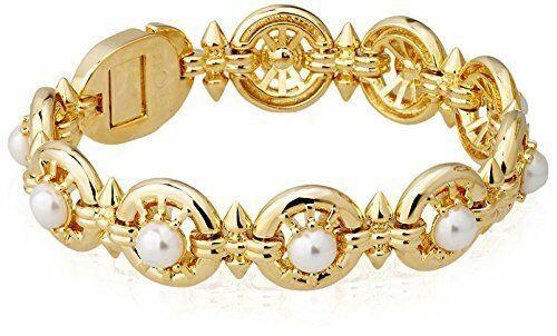 Neuf nOir Plaqué Or Bâtons Et Perle Fantaisie Bracelet Nwt