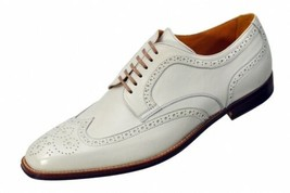 Handmade Men's White Wing Tip Heart Medallion Dress/Formal Oxford Leather Shoes image 1