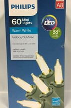 NEW! Philips 60 LED Warm White Mini Lights Green Wire Wedding Christmas ... - $12.86