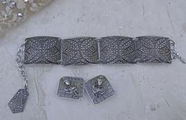 Vintage West German Aluminum Faux Marcasite Bracelet Germany  Earrings A... - $29.69