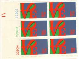 1973 Love Stamp Plate Block of 6 Postage Stamps Catalog Number 1475 MNH