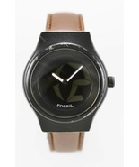 Fossil Watch Men Stainless Black Steel 50m Battery Brown Leather Quartz - $33.46