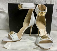 Awesome VERSACE White w/Gold Medusa Ankle Strap Shoes Sandals Sz 40IT/9.5US $995 - $643.49