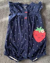 Carters Infant Girls Romper*Strawberry* Navy Blue + White Polka Dots (SI... - $9.85