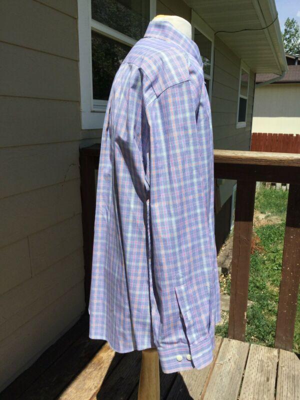 Orvis Algodón Puro Libre-Arruga Detalle Camisa Oxford Talla XL