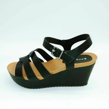 Bamboo Womens Cuddle Sandal Wedge Heels Black Open Toe Casual Summer 10 New - $20.18