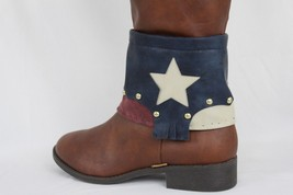 Women Gold Boot Chains USA Texas Star Flag Wide Strap Western Rodeo Shoe Charm - $23.51