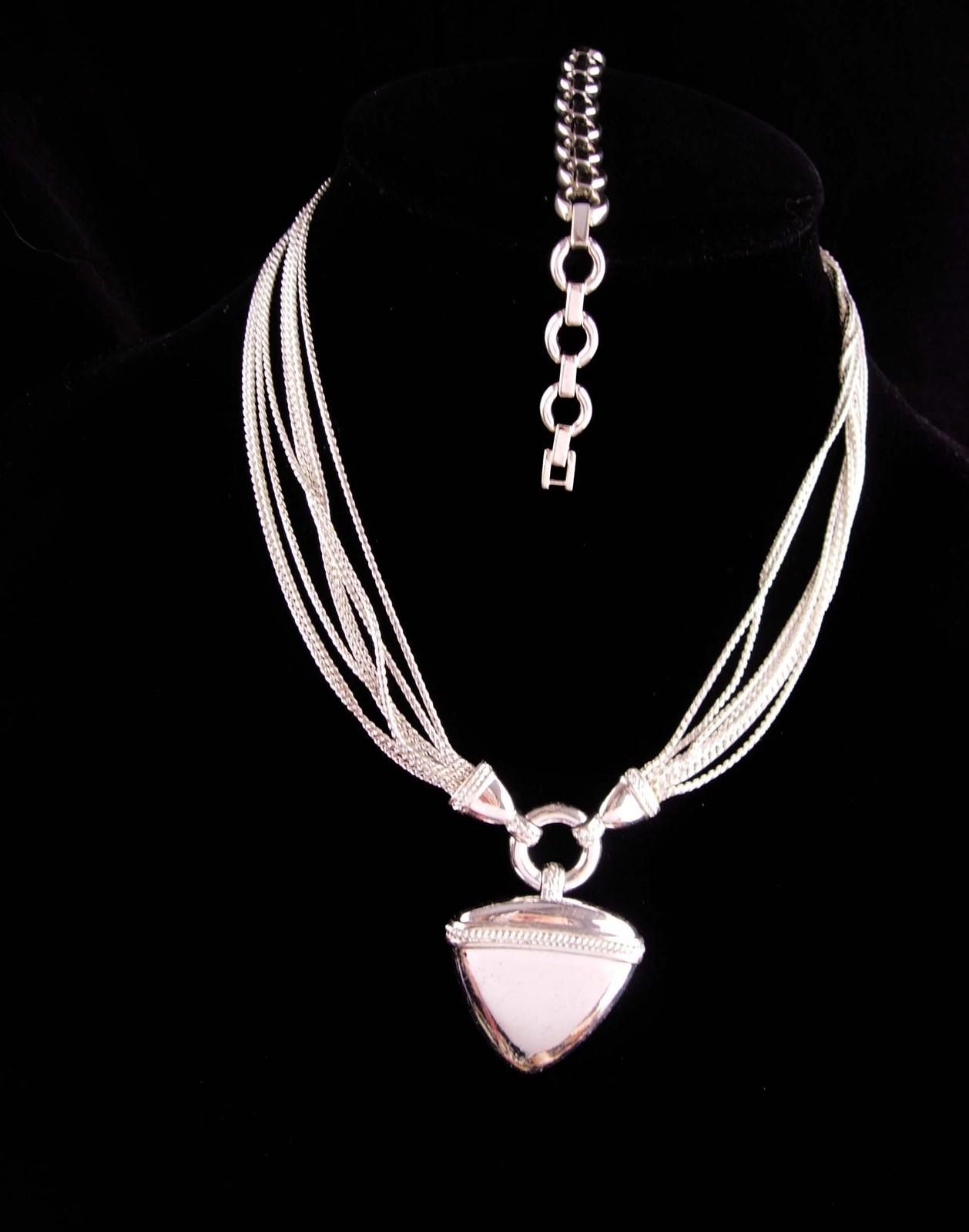 Silver 8 strand necklace and bracelet - silver set - statement choker - vintage