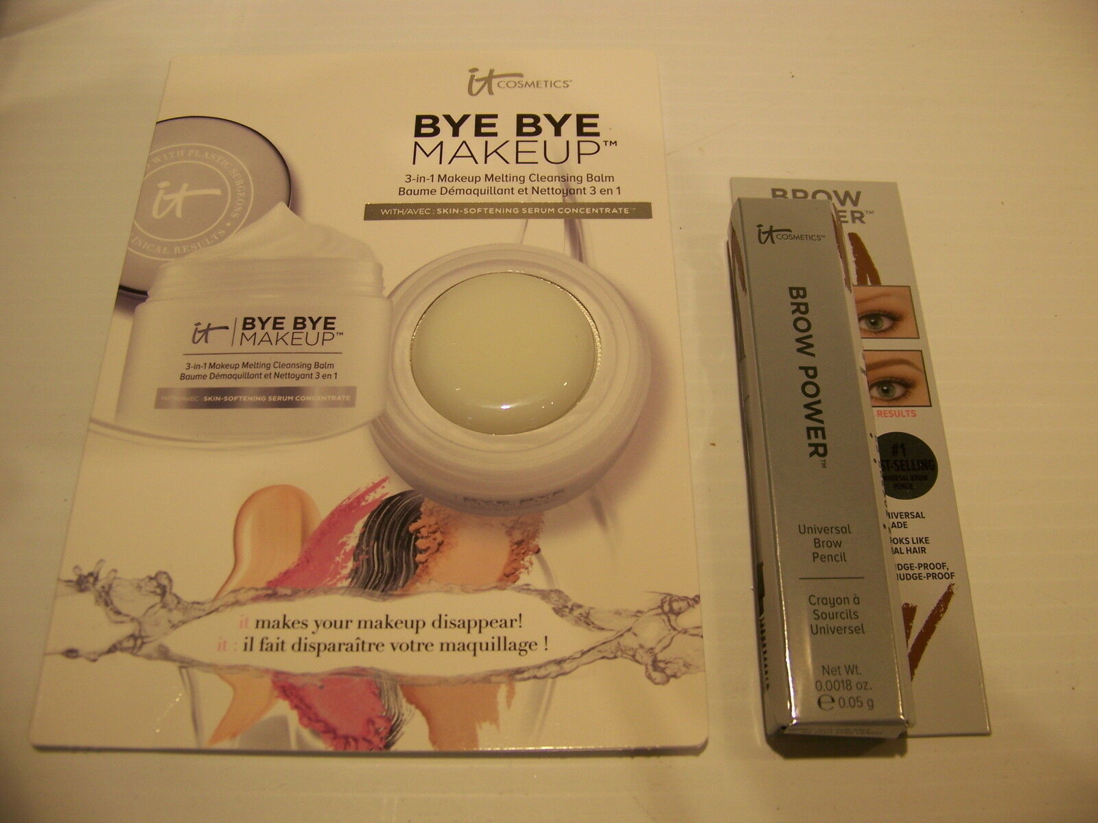 Primary image for it COSMETICS TAUPE BROW POWER NEW IN PACKAGE W/ .07 OZ BYE BYE MAKEUP SAMPLE