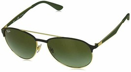 Ray Ban RB3606 9076/E8 Matte Black/Gold Green Pilot Sunglasses 59mm - $111.55