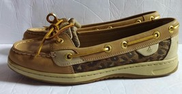 Women's Sperry Top Sider Boat Shoes Firefish Tan Leopard STS90438 Size us 8 M - $46.74